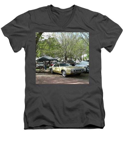 Men's V-Neck T-Shirt featuring the pyrography Car Show Saturday by Jack Pumphrey