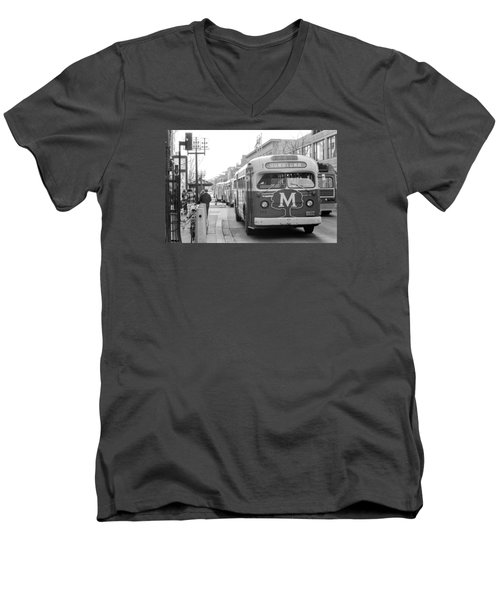 Caravan Of Buses On Nicollet Mall Men's V-Neck T-Shirt