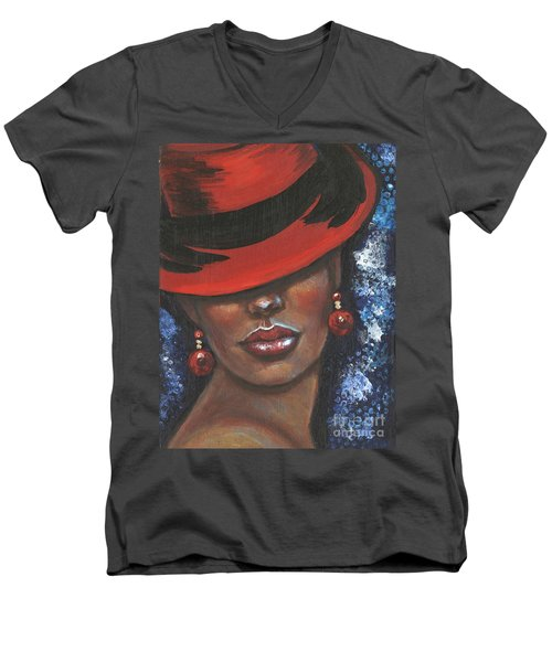 Carbaret Red Men's V-Neck T-Shirt