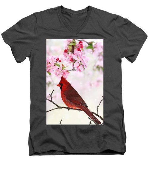 Cardinal Amid Spring Tree Blossoms Men's V-Neck T-Shirt by Stephanie Frey