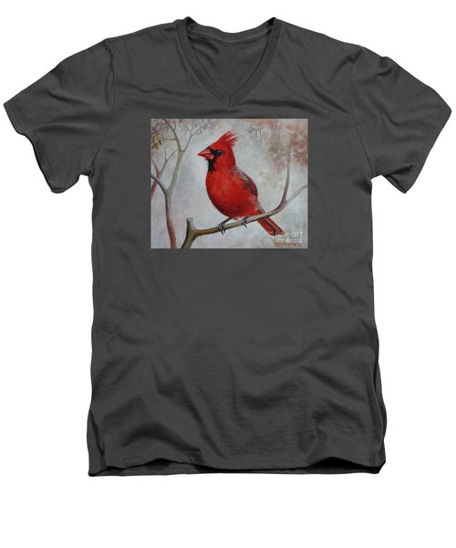 Men's V-Neck T-Shirt featuring the painting Cardinal by Elena Oleniuc