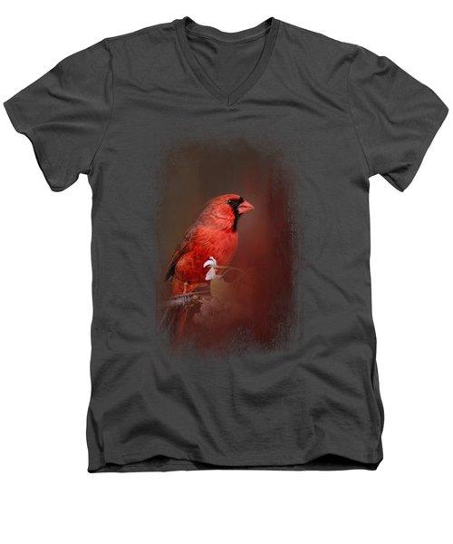 Cardinal In Antique Red Men's V-Neck T-Shirt