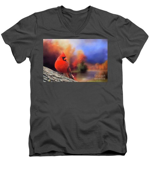 Cardinal In Autumn Men's V-Neck T-Shirt by Janette Boyd