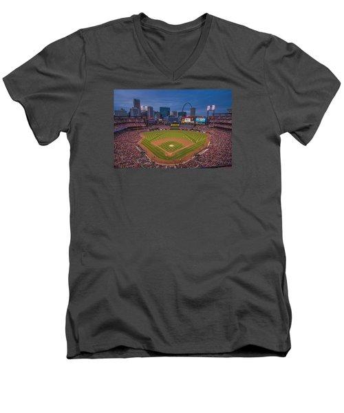 Cardinal Nation Busch Stadium St. Louis Cardinals Twilight 2015 Men's V-Neck T-Shirt by David Haskett