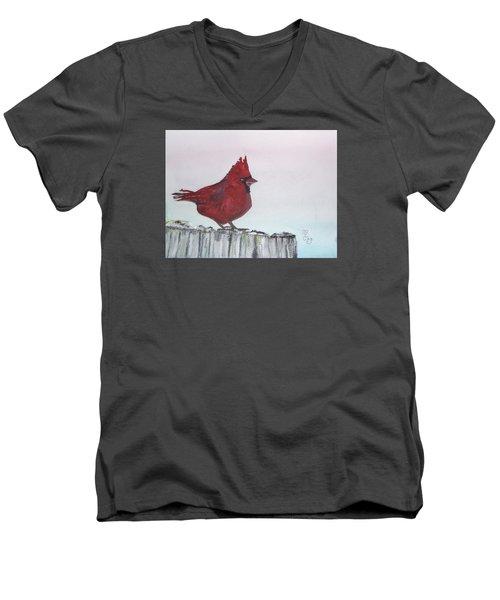 Cardinal On A Fence Post Men's V-Neck T-Shirt by Carole Robins