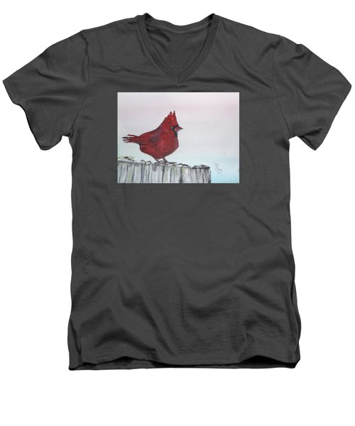 Cardinal On A Fence Post Men's V-Neck T-Shirt