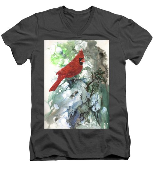 Men's V-Neck T-Shirt featuring the painting Cardinal by Sherry Shipley