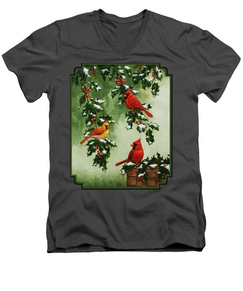 Cardinals And Holly - Version With Snow Men's V-Neck T-Shirt by Crista Forest