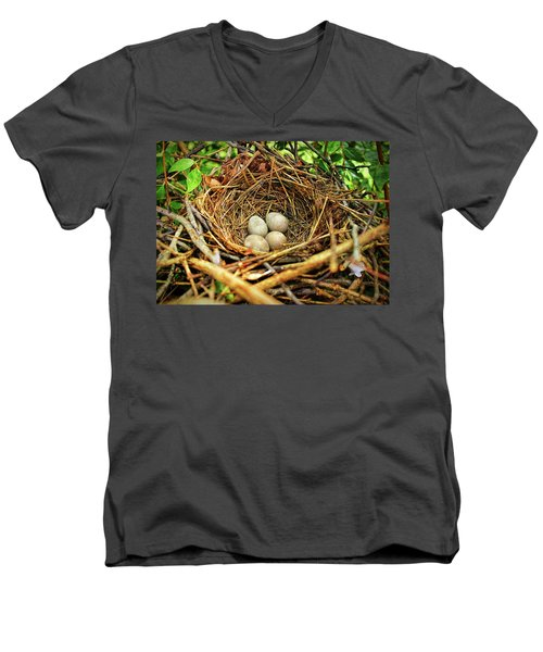 Men's V-Neck T-Shirt featuring the photograph Brown Thrasher Nest And Eggs by Bellesouth Studio