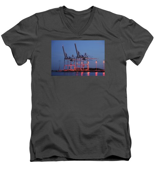 Men's V-Neck T-Shirt featuring the photograph Cargo Cranes At Night by Bradford Martin