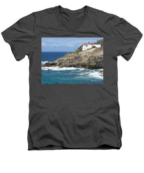 Caribbean Coastal Villa Men's V-Neck T-Shirt by Margaret Brooks