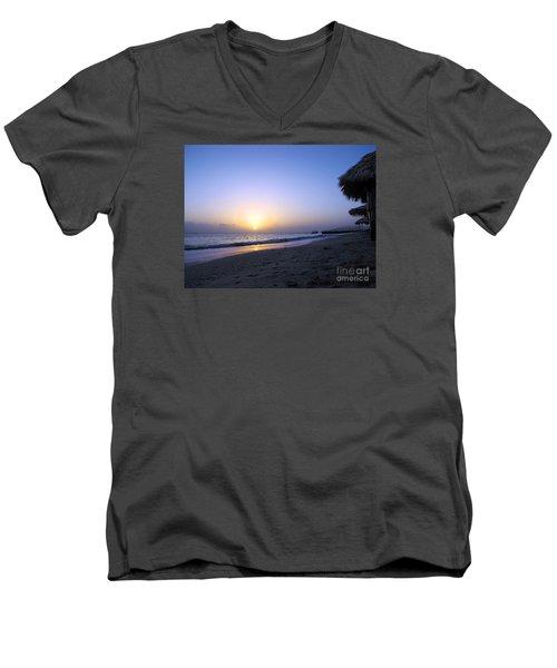Caribbean Sunrise Men's V-Neck T-Shirt by Cedric Hampton