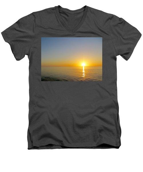 Caribbean Sunset Men's V-Neck T-Shirt by Teresa Wing