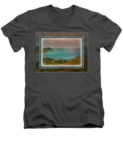 Men's V-Neck T-Shirt featuring the digital art Caribbean Symphony by Hanny Heim