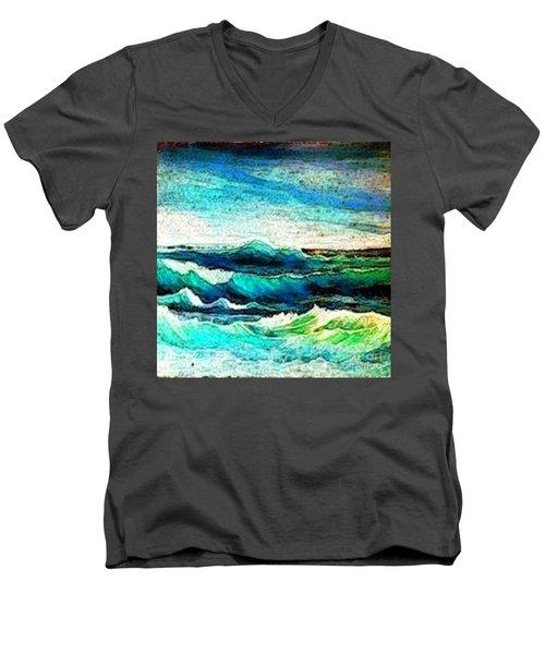 Caribbean Waves Men's V-Neck T-Shirt by Holly Martinson