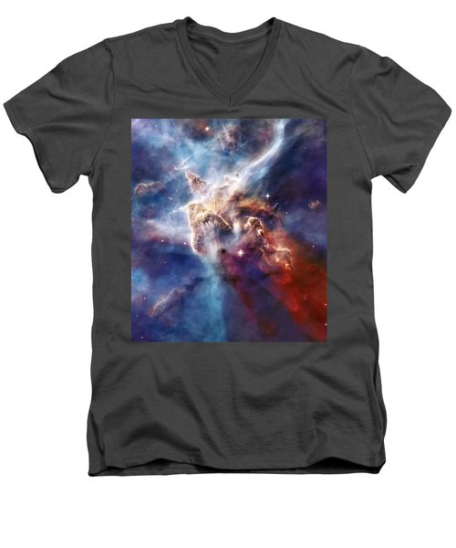 Carina Nebula Pillar Men's V-Neck T-Shirt by Jennifer Rondinelli Reilly - Fine Art Photography
