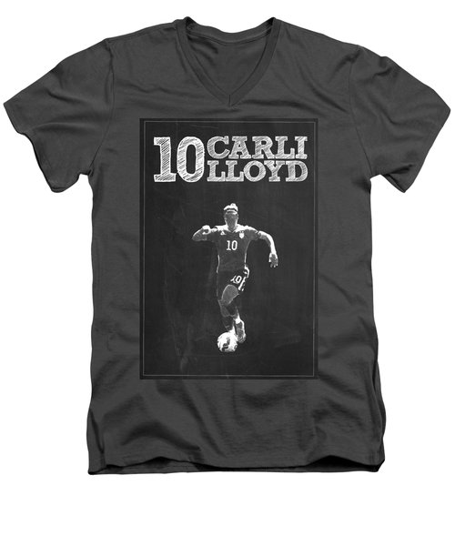 Carli Lloyd Men's V-Neck T-Shirt by Semih Yurdabak