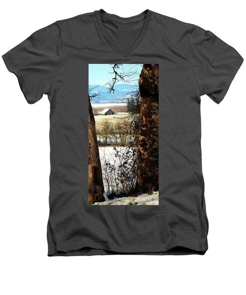 Carlton Barn Men's V-Neck T-Shirt by Jerry Sodorff