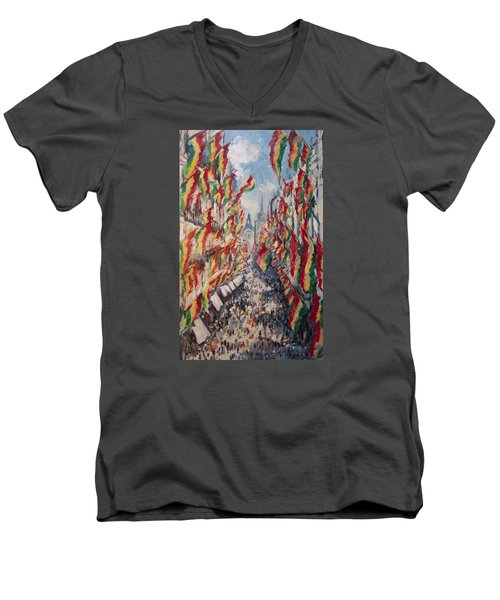 Carnival In The Grote Gracht In Maastricht Men's V-Neck T-Shirt by Nop Briex