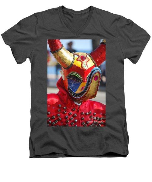 Carnival Red Duck Portrait Men's V-Neck T-Shirt by Heather Kirk