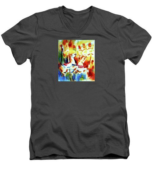 Men's V-Neck T-Shirt featuring the painting Carousal 4 by Kathy Braud