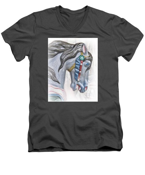 Carousel Star Men's V-Neck T-Shirt by David and Carol Kelly
