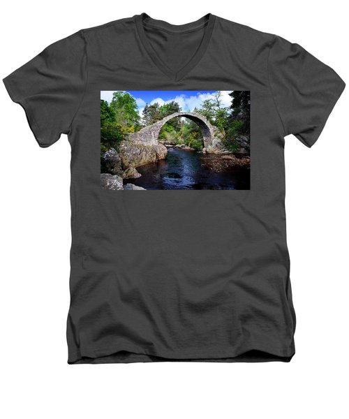 Carr Bridge Scotland Men's V-Neck T-Shirt by Don and Bonnie Fink