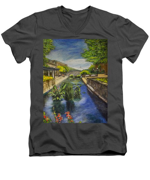 Carroll Creek Men's V-Neck T-Shirt by Ron Richard Baviello