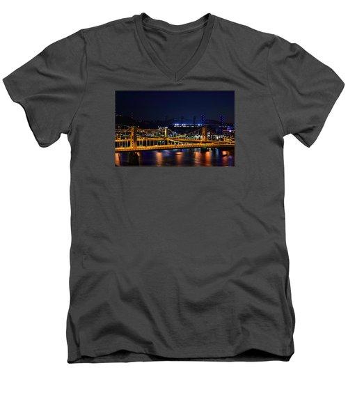 Carson Bridge At Night Men's V-Neck T-Shirt by William Bartholomew