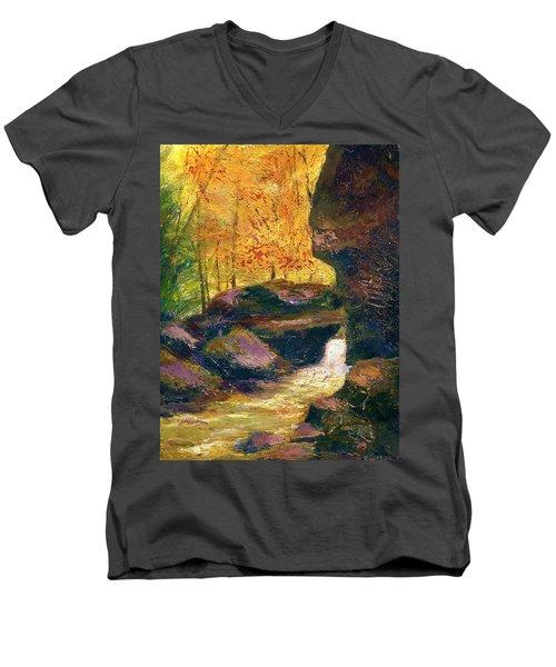 Men's V-Neck T-Shirt featuring the painting Carter Caves Kentucky by Gail Kirtz