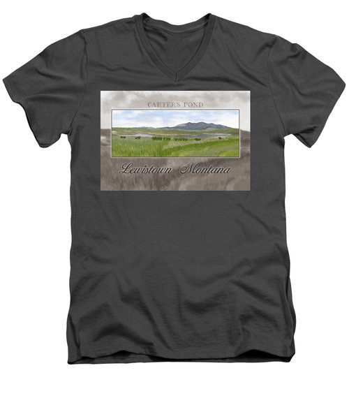 Men's V-Neck T-Shirt featuring the digital art Carter's Pond by Susan Kinney