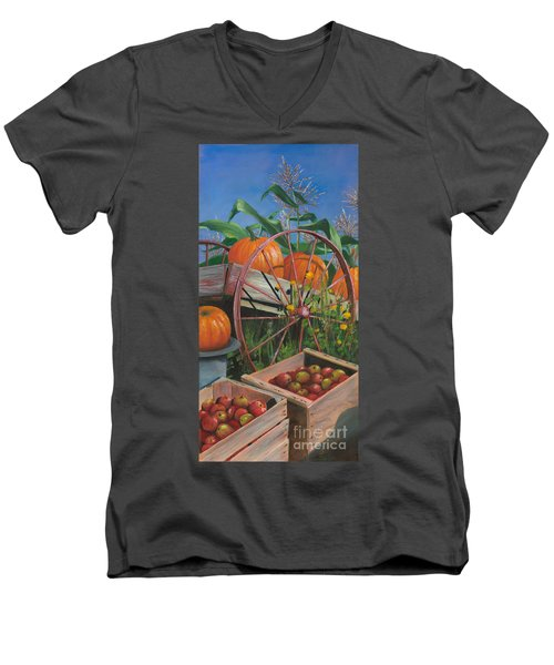 Cartloads Of Pumpkins Men's V-Neck T-Shirt by Jeanette French