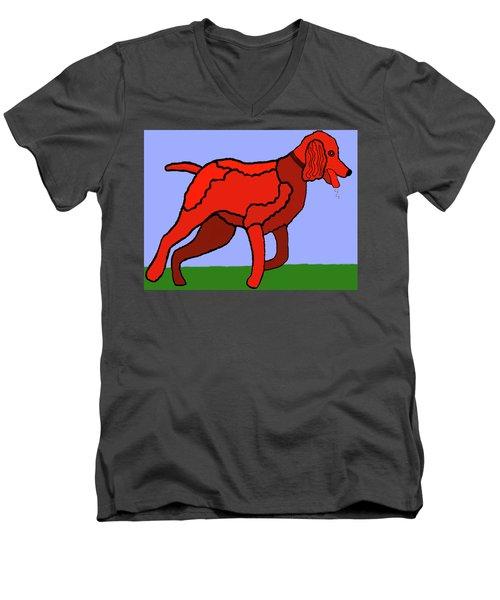 Cartoon Romping Miniature Apricot Poodle Men's V-Neck T-Shirt