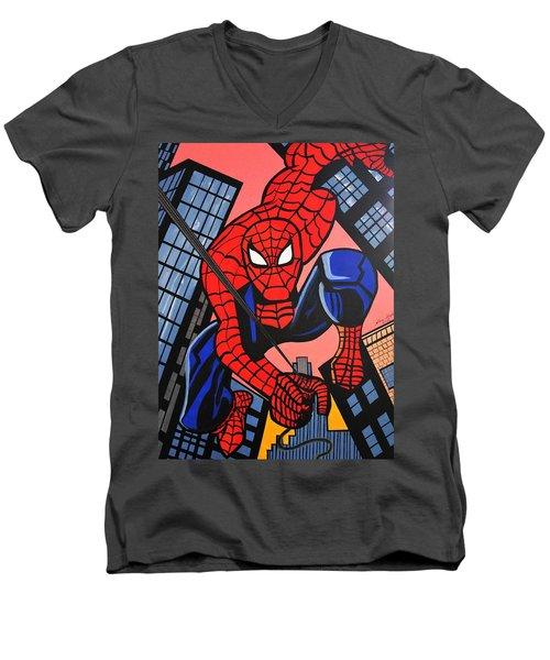 Cartoon Spiderman Men's V-Neck T-Shirt by Nora Shepley