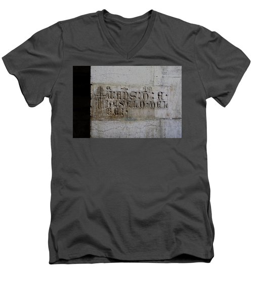 Men's V-Neck T-Shirt featuring the photograph Carved In Stone by Lorraine Devon Wilke