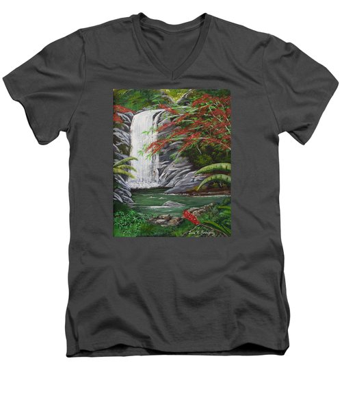 Cascada Tropical Men's V-Neck T-Shirt by Luis F Rodriguez