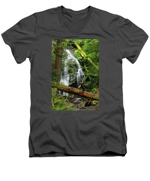 Cascade Falls - Orcas Island Men's V-Neck T-Shirt