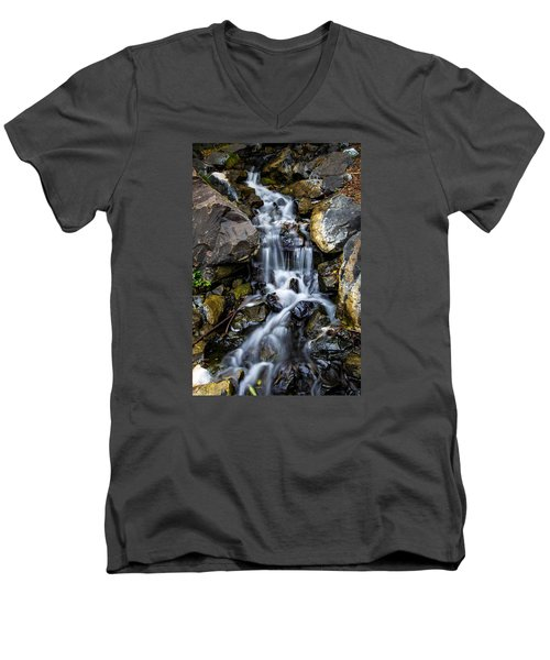 Men's V-Neck T-Shirt featuring the photograph Cascade by Keith Hawley