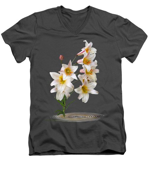 Cascade Of Lilies On Black Men's V-Neck T-Shirt by Gill Billington