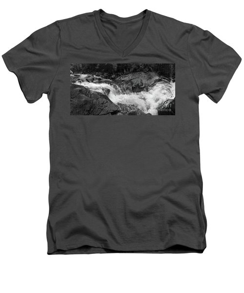 Cascade Stream Gorge, Rangeley, Maine  -70756-70771-pano-bw Men's V-Neck T-Shirt by John Bald