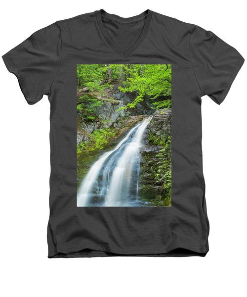Cascade Waterfalls In South Maine Men's V-Neck T-Shirt
