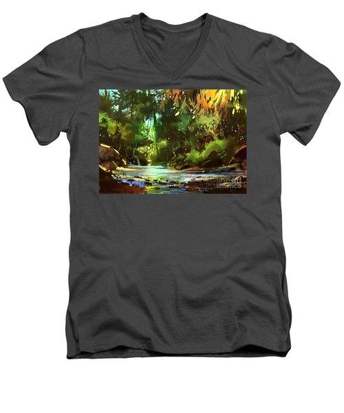 Cascades In Forest Men's V-Neck T-Shirt
