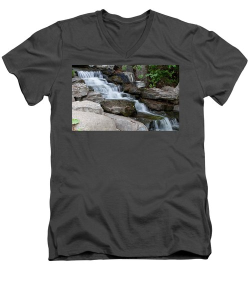 Men's V-Neck T-Shirt featuring the photograph Cascading by Fran Riley