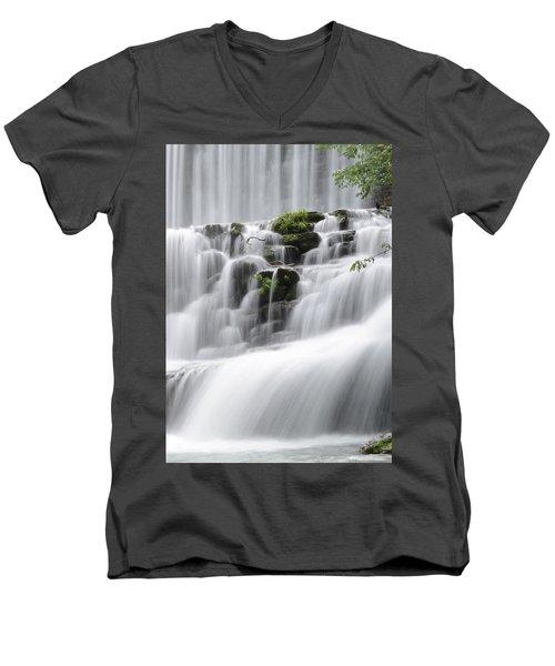 Cascading Mirror Lake Falls Men's V-Neck T-Shirt by Renee Hardison