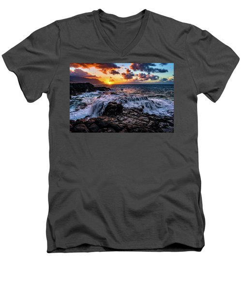 Cascading Water At Sunset Men's V-Neck T-Shirt