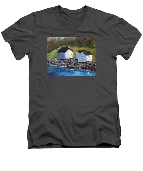 Men's V-Neck T-Shirt featuring the painting Casco Bay Boat Houses by Michael Helfen
