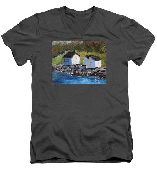 Casco Bay Boat Houses Men's V-Neck T-Shirt