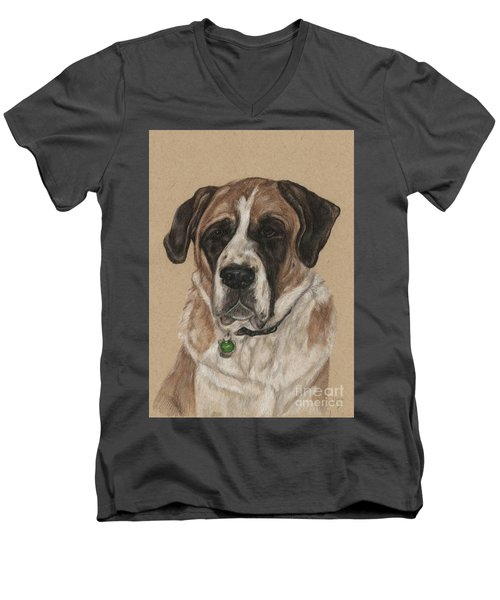 Men's V-Neck T-Shirt featuring the drawing Casey  by Meagan  Visser