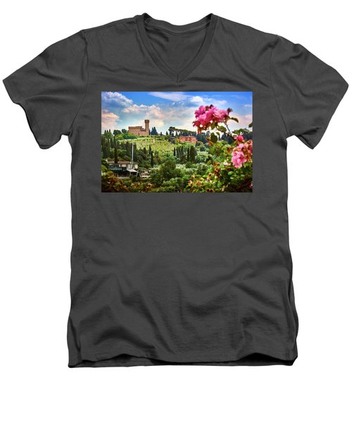 Castle And Roses In Firenze Men's V-Neck T-Shirt