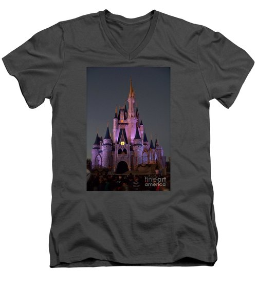 Castle At Twilight Men's V-Neck T-Shirt by Carol  Bradley